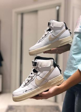 Женские кожаные кроссовки nike air force 1 high utility white