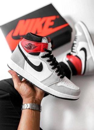 Женские кроссовки nike air jordan 1 retro high light smoke grey""