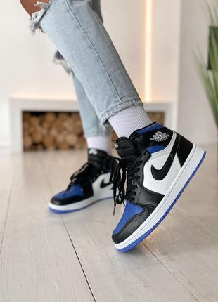Женские кроссовки nike air jordan 1 retro high blue black white