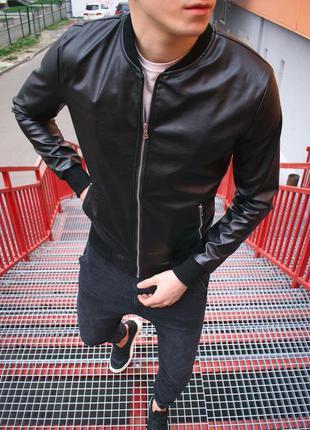Топовая мужская весенняя кожаная куртка бомбер