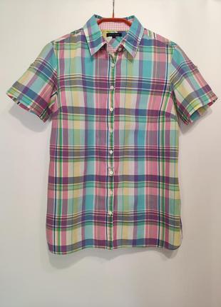 Tommy hilfiger летняя рубашка в клетку с коротким рукавом