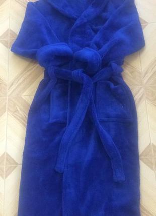 Женский махровый халат цвет синий ультрамарин, в наличии разме...