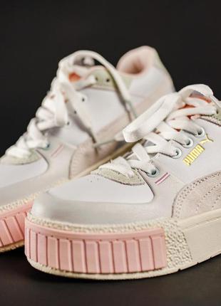 Женские кожаные кроссовки puma cali sport mix white