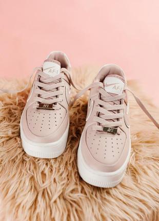 Женские кожаные кроссовки nike air force low pink розового цвета