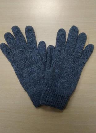 Перчатки, мужские, теплые, шерстяные, вязаные, двойные, серые,...