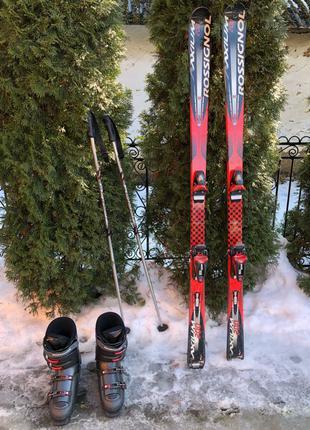 Горные лыжи Rossignol AXIUM 200 XPS RED и ботинки 43 размер