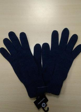 Перчатки, мужские, теплые, шерстяные, вязаные, двойные, синие,...