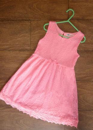 Нарядное кружевное платье на 7-8 лет