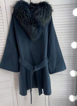 Пальто с мехом чернобурка изумрудное темно зеленое италия punk...