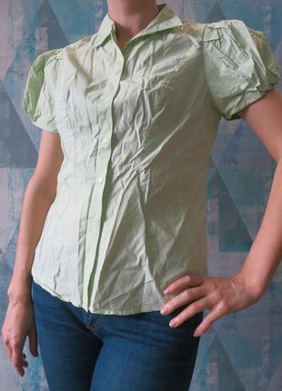 Блуза рукава фонарики салатная салатовая светло-зелёная хлопок
