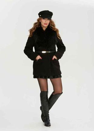 Короткое пальто с шалью из натурального меха