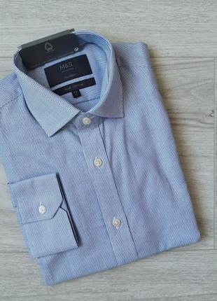 Голубая мужская рубашка в полоску с длинным рукавом 100% хлопок