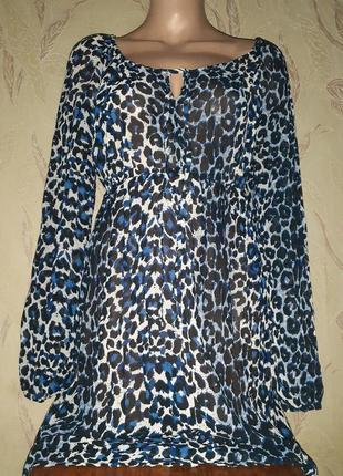 Платье туника пляжная синий леопард шифон длинный рукав