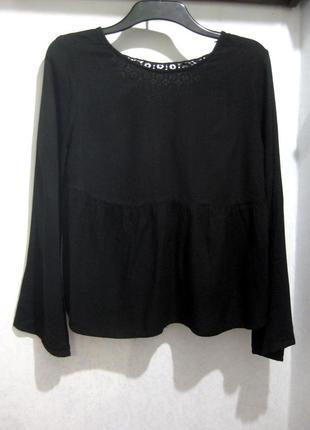 Джемпер блузка zara индия чёрная длинный рукав кружево ажурная...
