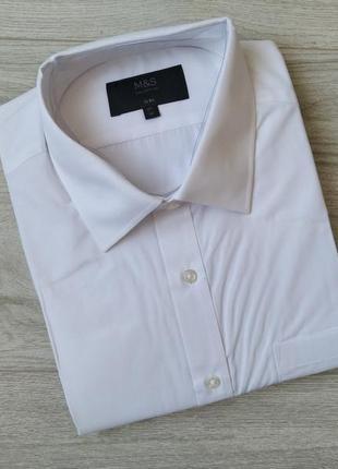 Белая приталенная рубашка с коротким рукавом