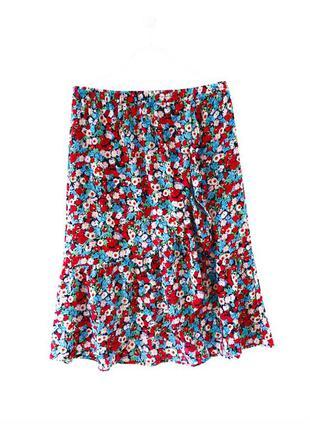 Стильная яркая юбка миди в цветочный принт only
