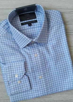 Голубая мужская рубашка в клеточку с длинным рукавом 100% хлопок