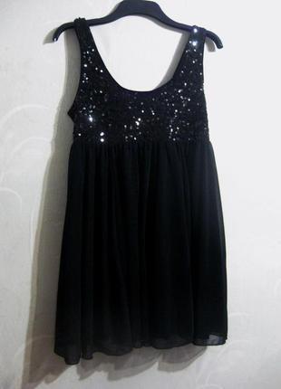 Платье h&m сарафан чёрный вечернее с пайетками блестящее