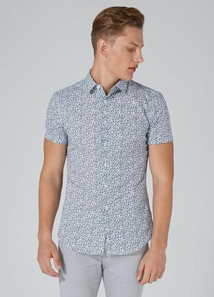 Рубашка topman white and blue floral, muscle fit !