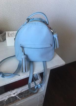 Голубой рюкзак fidelitti натуральная кожа