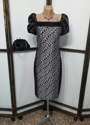 Платье миди бренд condra коктейльное нарядное вырез каре пышны...