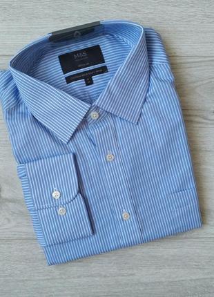 Мужская рубашка с длинным рукавом р. 46 ворот 18 regular