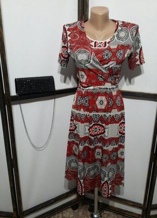 Платье с этническим принтом миди с укороченным жакетом на завя...