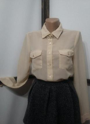 Блуза блузка рубашка vero moda пудровая шифоновая
