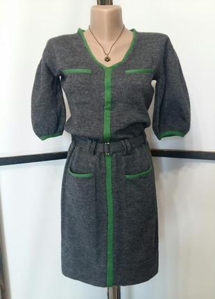 Серое платье пышный рукав шерсть 100%