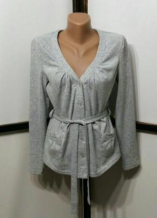 Базовый кардиган кофта кофточка с поясом серый меланж