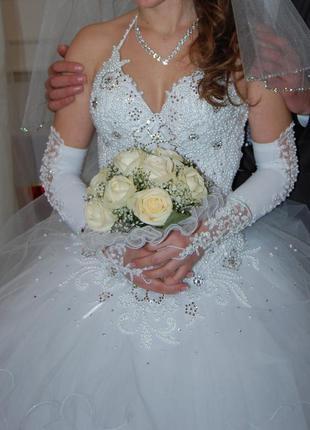 Красивенное свадебное платье.корсет камни жемчуг+подарки.супер...