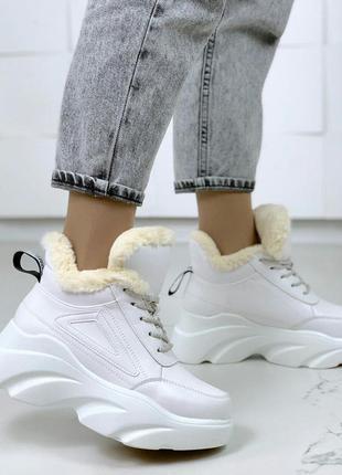 Белые тёплые кроссовки на высокой подошве,зимние массивные кро...