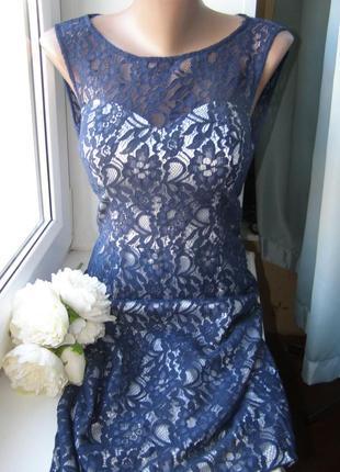Quiz кружевное платье миди s-m-размер