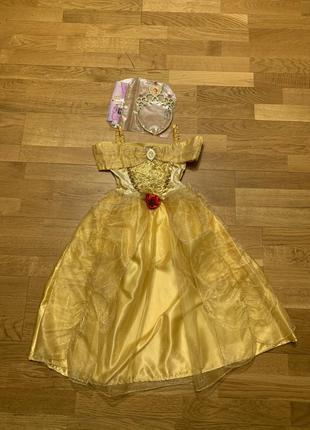 Шикарное золотое платье карнавальный костюм принцессы белль с ...