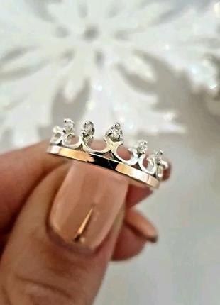 Срібна каблучка Корона діадема із золотою напайкою основою та фіа