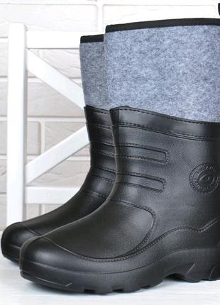 Гумові чоботи чоловічі високі всередині повстяна вставка Україна