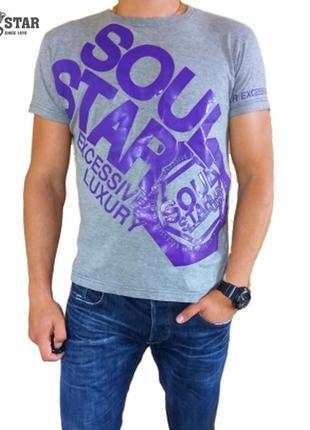 Мужская серая футболка в принт soul star