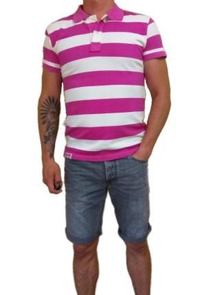 Мужская летняя поло футболка в широкую розовую полоску mitchel...