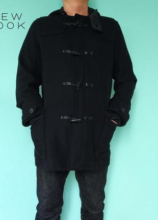 Черное пальто полупальто дафлкот new look