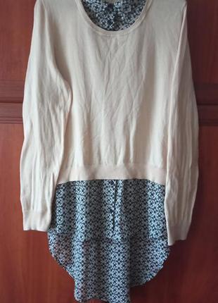 Кофта блузка 2 в 1. свитер. кофта