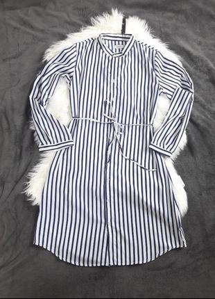 Распродажа! платье рубашка в полоску с воротником стойкой