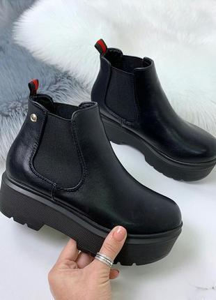 Чёрные осенние ботинки на платформе,демисезонные ботинки на ни...