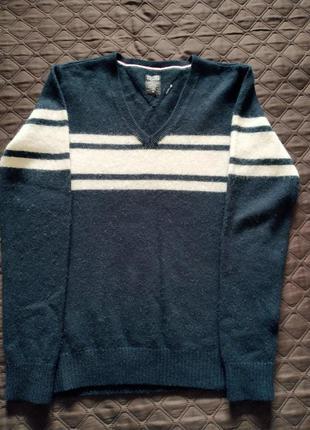 Теплый фирменный пуловер томми хилфигер( шерсть+ангора)