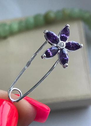 Булавка серебро 925 брошь цветочек фиолет 7148