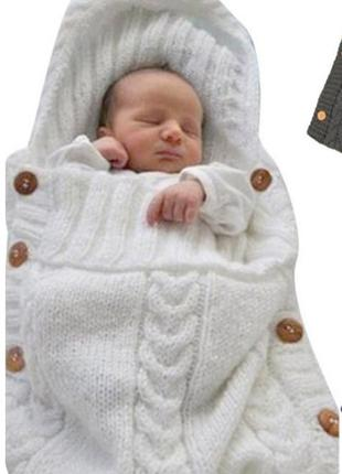 12-46 конверт для новорожденного кокон вязаный на выписку