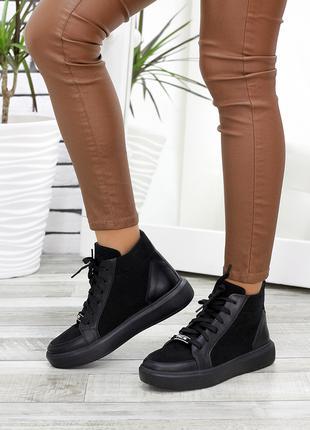 Высокие кожаные кеды черные