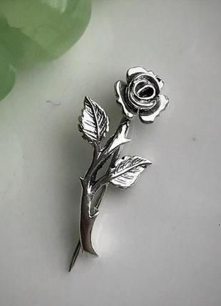 Булавка серебряная брошь роза 7026