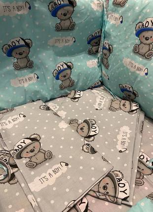 Детское постельное сменное белье в кроватку с бортиками 5 в 1, пе