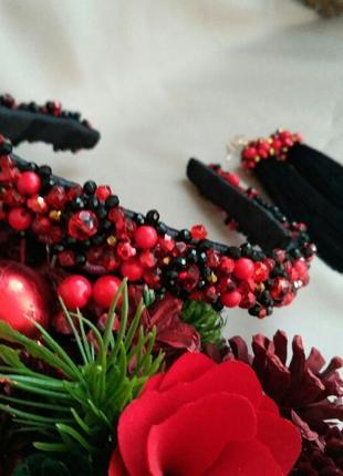 Набор украшений ободок из бусин и серьги-кисти, красно-черный ...