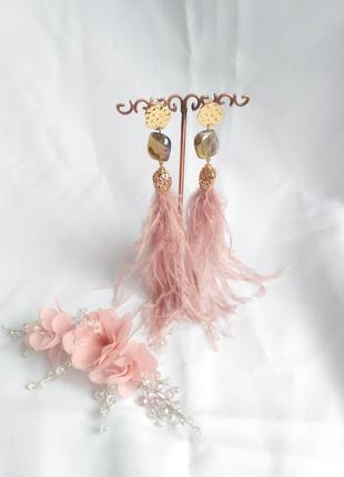 Набор украшений сережки и заколка нежно-розового цвета